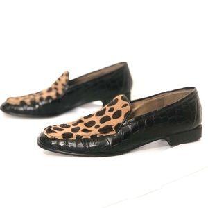 Stuart Wietzman Pony hair leopard loafers 8.5 N